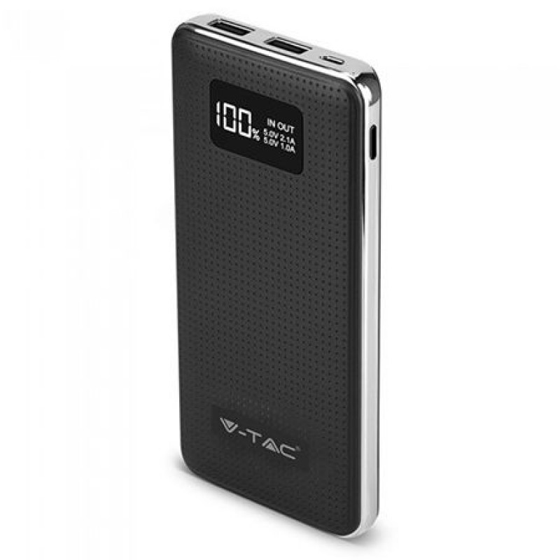 Baterie externa, 10.000 mAh, 2 x USB, design piele, Negru