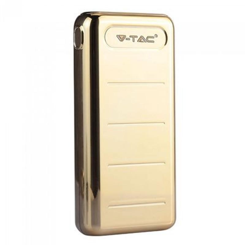 Acumulator Powerbank V-Tac, 20000 mAh, iluminare LED, iesire USB, Auriu 2021 shopu.ro
