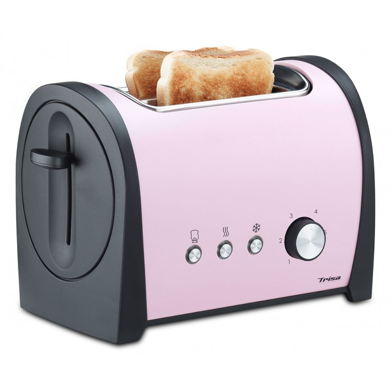 Prajitor de paine Trisa Retro Line, 800 W, 6 trepte rumenire, roz