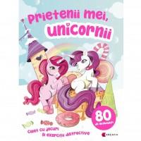 Carte de activitati Prietenii mei unicornii Editura Kreativ, 16 pagini, 80 abtibilduri incluse, 3-10 ani