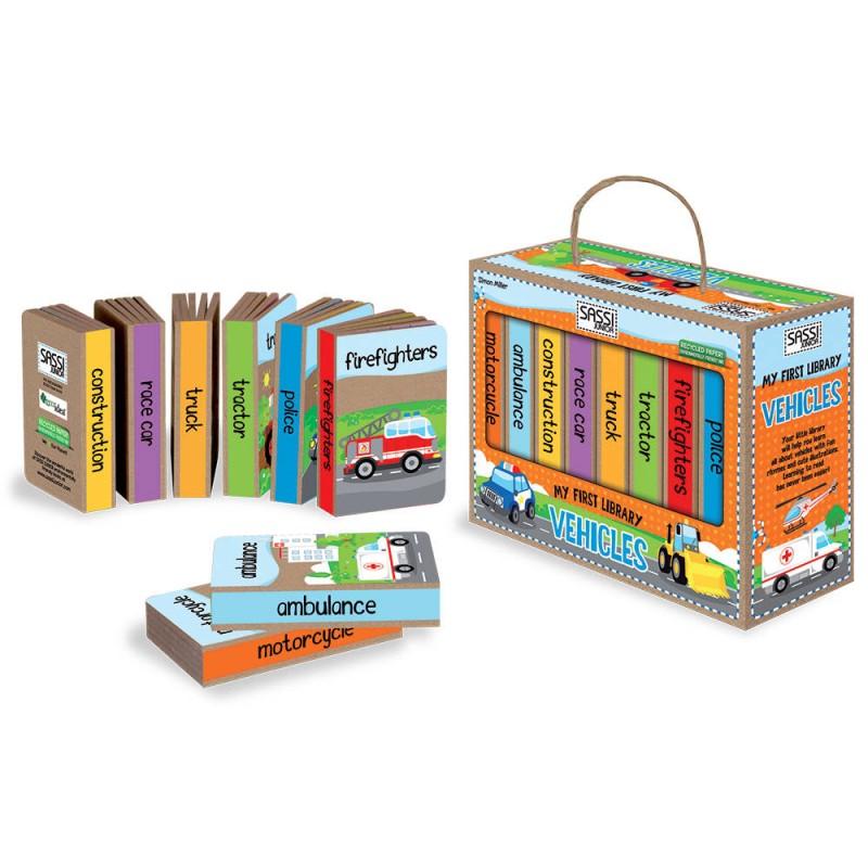 Set 8 carti Prima mea biblioteca Vehicule Sassi, 8 pagini, 2 ani+ 2021 shopu.ro