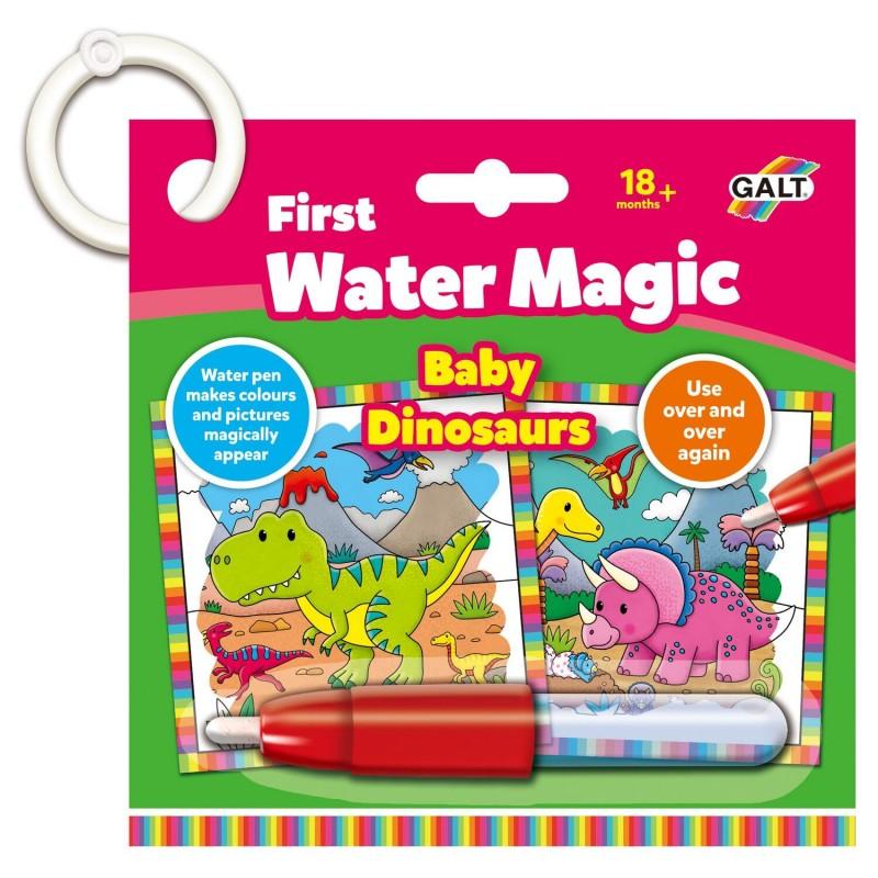 Jucarie interactiva carticica Water Magic Micutii dinozauri Galt, 18 x 18 cm, 6 imagini, 18 luni+ 2021 shopu.ro