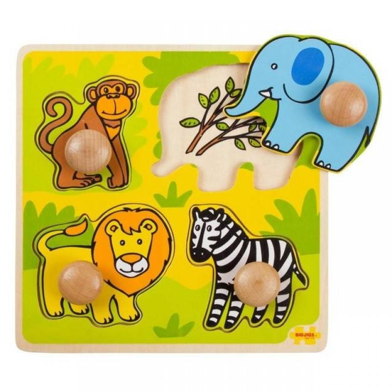 Primul meu puzzle Safari, 4 piese din lemn, 20 x 20 cm 2021 shopu.ro