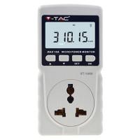Priza pentru masurare consum energie electrica V-Tac, display LCD, maxim 10 A