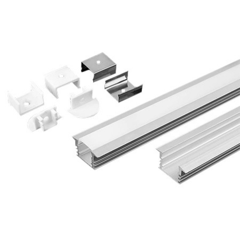 Profil pentru banda LED, 2 m, 24.5 x 12.2 mm, protectie plastic, aluminiu shopu.ro