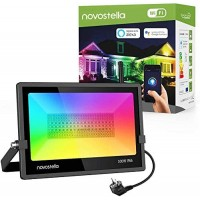 Proiectoare de podea LED RGB Novostella, 100W, 5000 K, smart, Wi-fi, IP66, aluminiu, timer, telecomanda inclusa