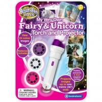 Proiector zane si unicorni Brainstorm Toys, 24 de imagini, Alb/Roz