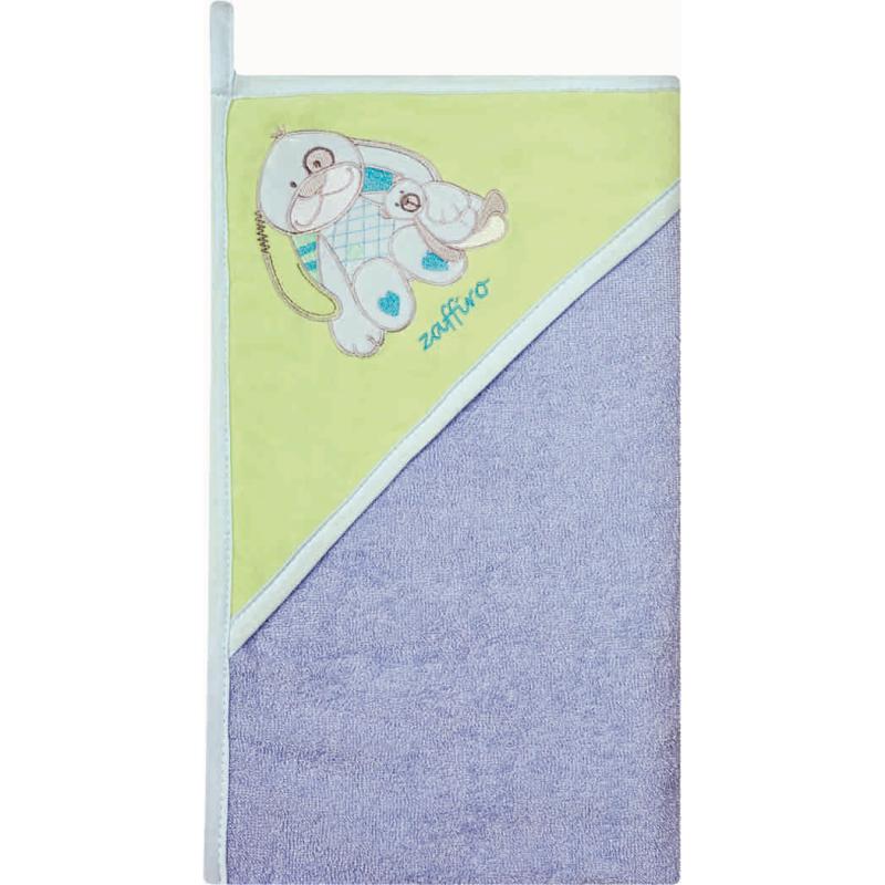 Prosop de baie cu gluga imprimeu velur Womar Zaffiro, 100 x 100 cm, Albastru/Verde 2021 shopu.ro