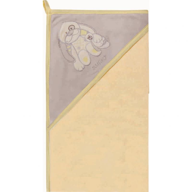 Prosop de baie cu gluga imprimeu velur Womar Zaffiro, 80 x 80 cm, Gri/Galben 2021 shopu.ro