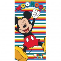 Prosop de plaja Mickey Star, 70 x 140 cm, Microfibra, Multicolor