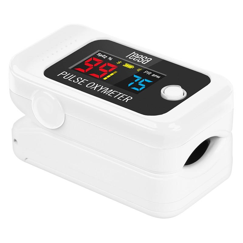Pulsoximetru pentru deget Teesa, bluetooth, afisaj LCD, Alb 2021 shopu.ro