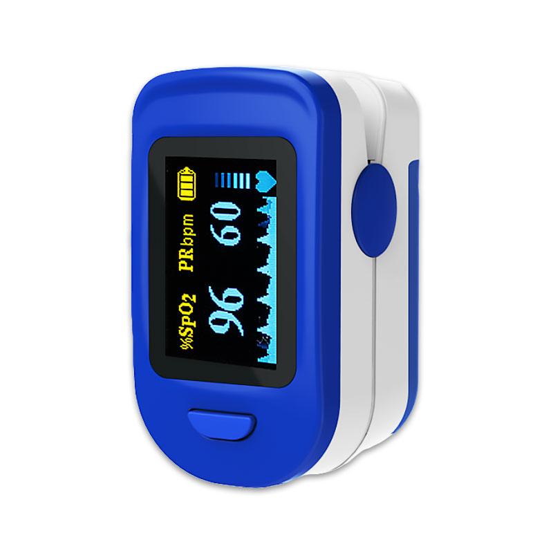 Pulsoximetru RedLine, 2 x AAA, masoara rata, indica nivelul bateriei, Alb/Albastru 2021 shopu.ro