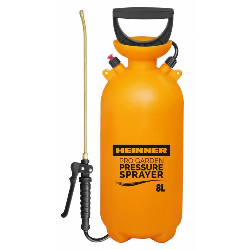 Pulverizator cu presiune Heinner, 8 L, 5.3 bar, 1.2 m, furtun flexibil, lance cupru, valva eliberare presiune, duza ajustabila, Galben shopu.ro