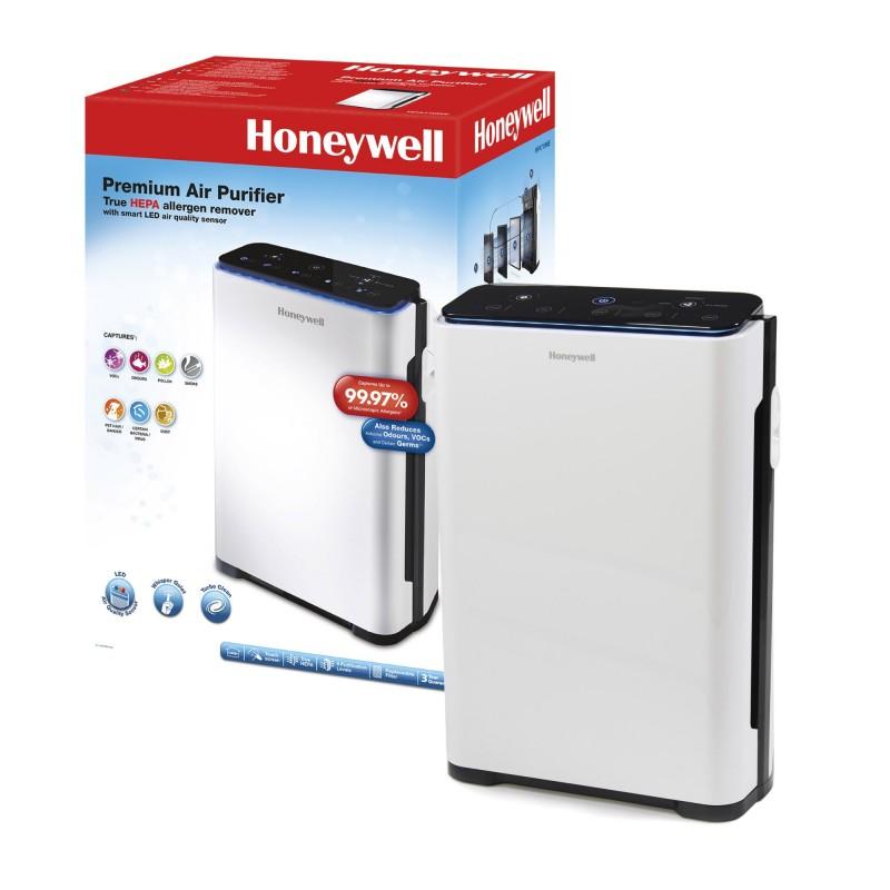 Purificator de aer True Honeywell, 187 m3/h, touchscreen, senzor LED, filtru HEPA, 5 moduri, Alb/Negru 2021 shopu.ro
