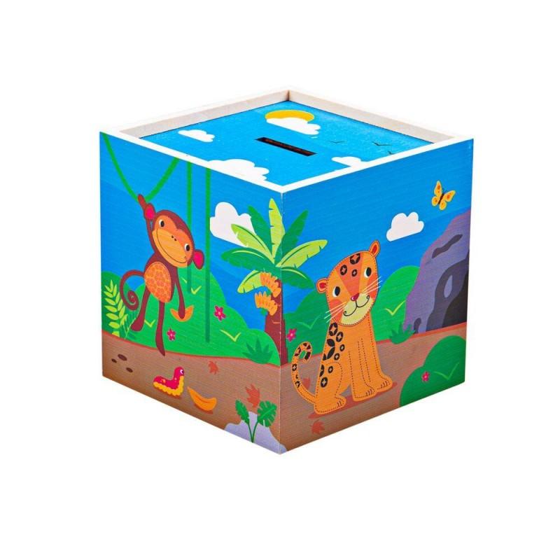Pusculita din lemn Jungla Tidlo, 12 x 12 x 12 cm, 3 ani+ shopu.ro