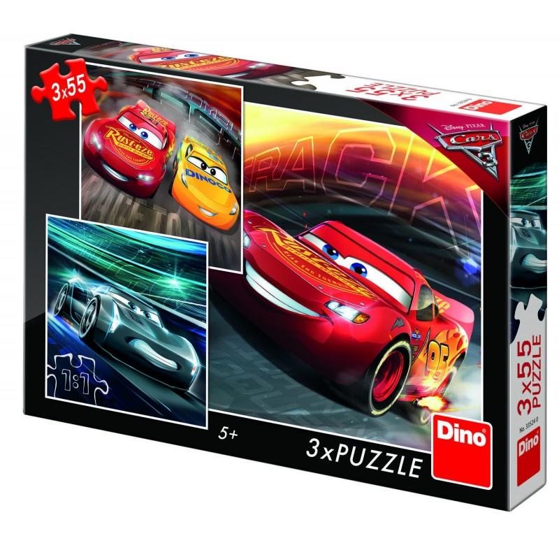 Puzzle 3 in 1 Cars 3 Cursa cea mare, 55 piese, 5-8 ani 2021 shopu.ro
