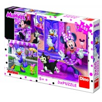 Puzzle 3 in 1 O zi cu Minnie, 55 piese, 5-8 ani
