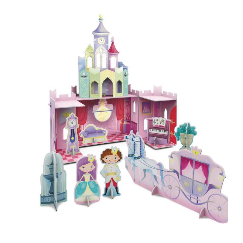 Puzzle 3D Castelul printesei Sassi, 18 x 25 x 27 cm, carte inclusa, 10 pagini, 3 ani+ 2021 shopu.ro