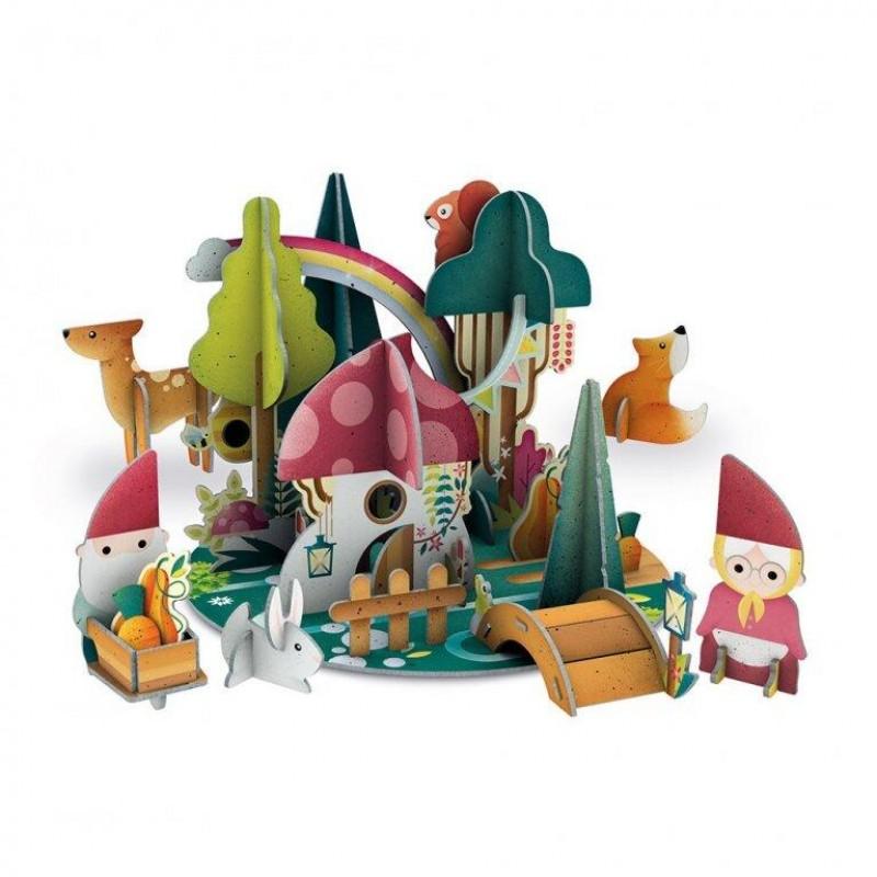 Puzzle 3D Padurea piticilor Sassi, 46 piese, carte inclusa, 10 pagini, 3 ani+ 2021 shopu.ro
