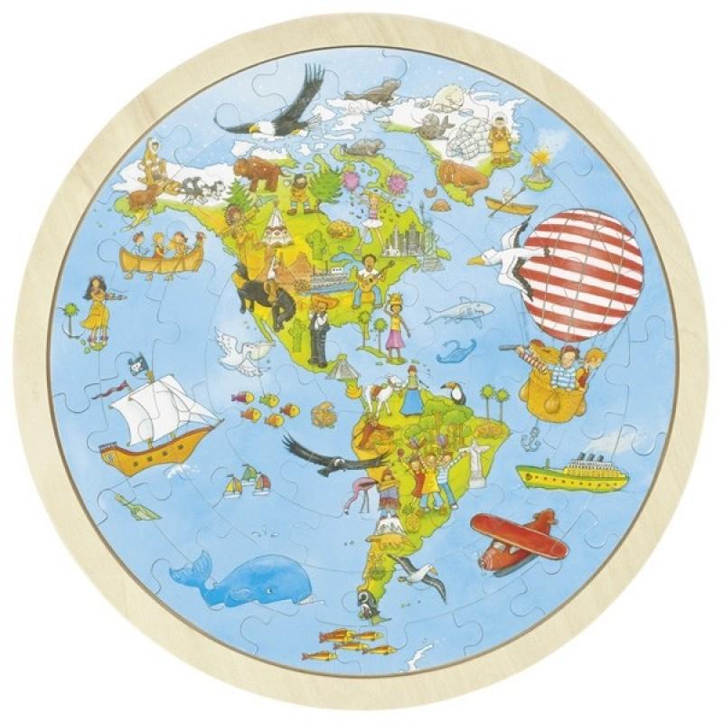 Puzzle circular din lemn Calatorie prin lume Goki, 57 piese, 30 cm 2021 shopu.ro