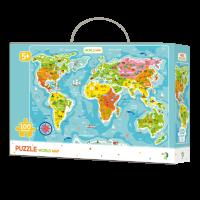 Puzzle Continentele lumii Dodo, 100 piese, 46 x 64 cm, carton, 5 ani+