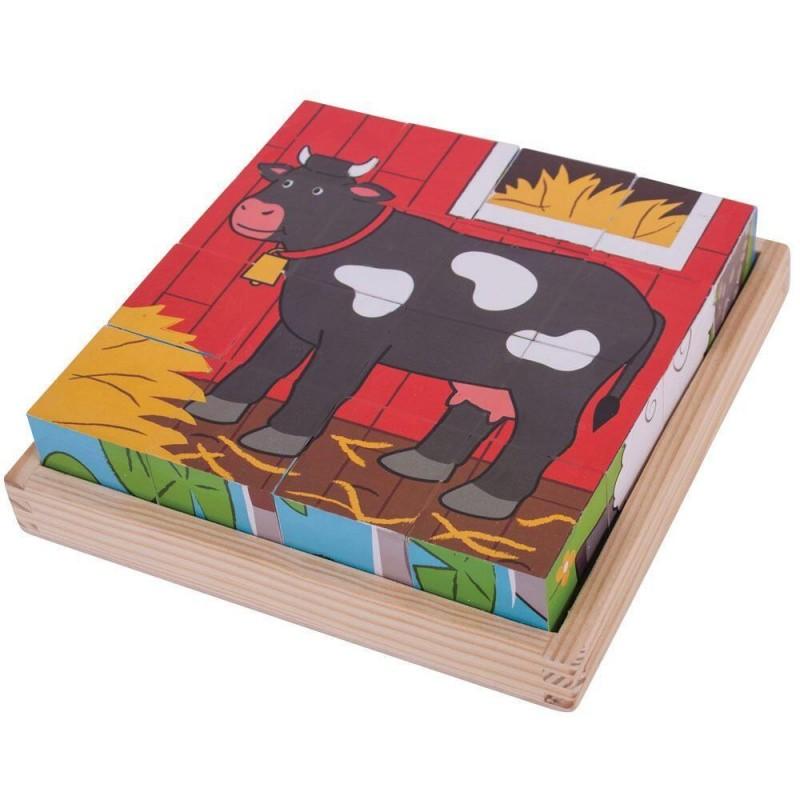 Puzzle cubic Animalute de la ferma Bigligs, 16 piese, 18 luni+ 2021 shopu.ro
