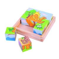 Puzzle cubic Dinozauri, 9 cuburi din lemn, 12.5 x 12.5 x 4.5 cm, 9 piese