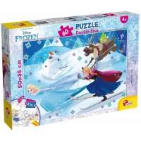 Puzzle de colorat Frozen la schi Lisciani, 60 piese, 3 ani+