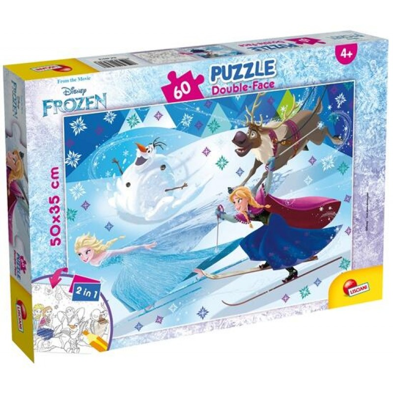 Puzzle de colorat Frozen la schi Lisciani, 60 piese, 3 ani+ 2021 shopu.ro