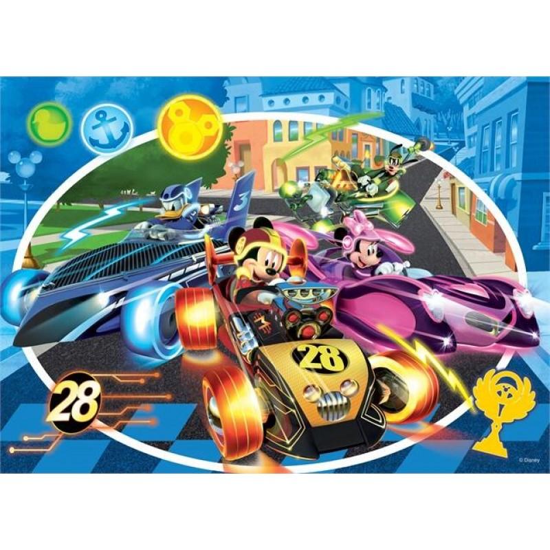 Puzzle de colorat Mickey in cursa Lisciani, 24 piese, 3 ani+ 2021 shopu.ro