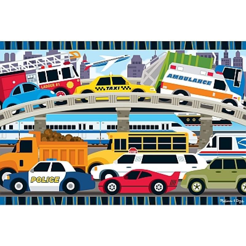 Puzzle de podea Blocaj in trafic, Melissa and Doug, 24 piese 2021 shopu.ro