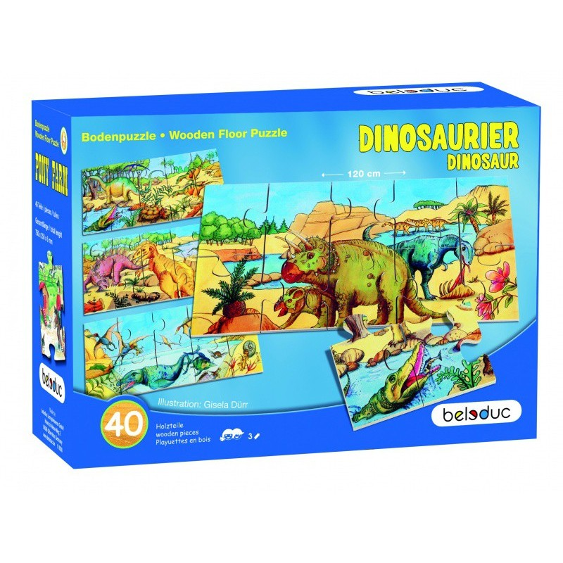 Set 4 puzzle-uri de podea Dino Beleduc, 4 x 10 piese 2021 shopu.ro