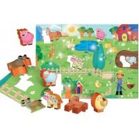 Puzzle de podea Distractie la ferma Lisciani, 12 piese, 1-4 ani