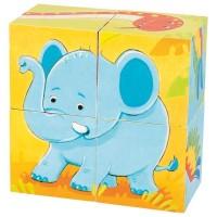 Puzzle din cuburi Animale salbatice Goki, 8 x 8 x 4 cm, 4 piese, lemn, 2 ani+