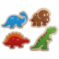 Puzzle din lemn Dinozauri, 14 x 10 cm, 4 piese, 12 luni+