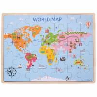 Puzzle din lemn Harta lumii, 35 piese, 1.2 x 42.8 x 32.5 cm, 3 ani+