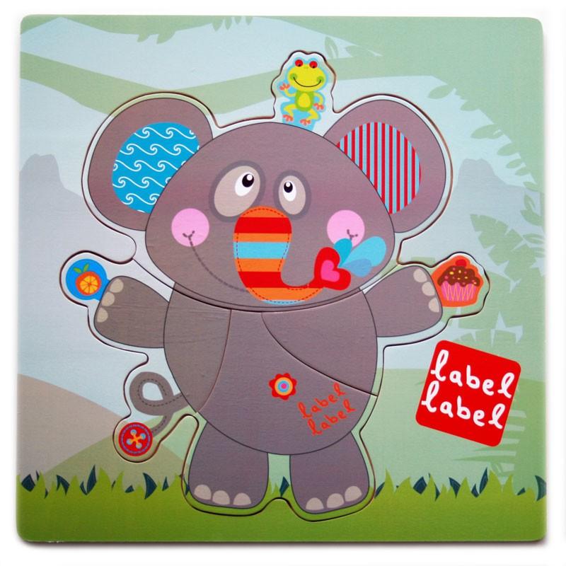 Puzzle din lemn Elefant Label-Label, 30 x 30 cm, 1 an+ 2021 shopu.ro