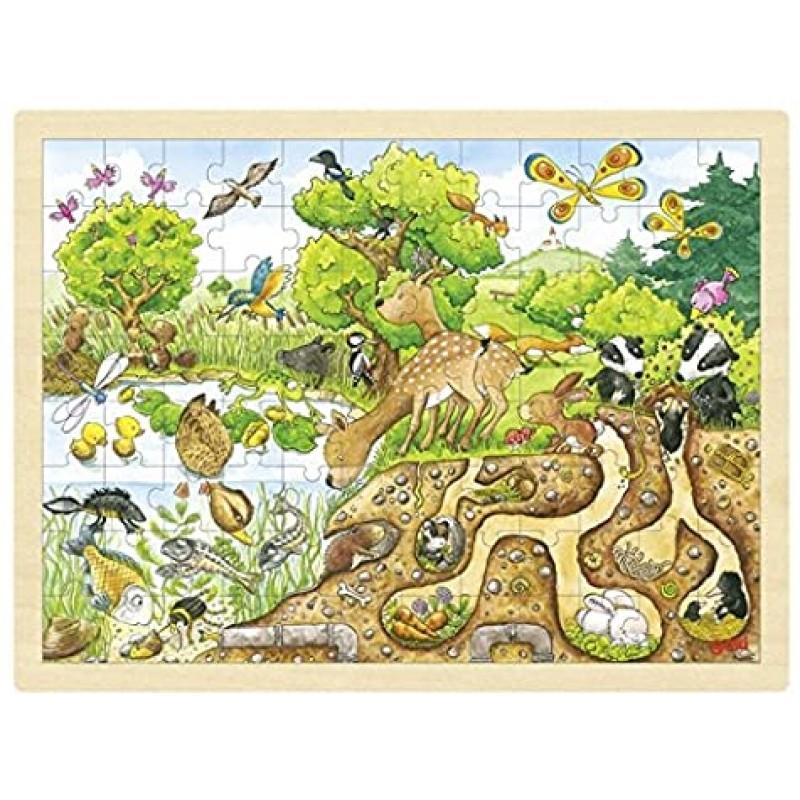 Puzzle Explorand natura Goki, 40 x 30 x 0.8 cm, 96 piese, lemn, 5 ani+ 2021 shopu.ro