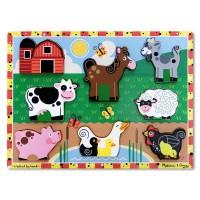 Puzzle lemn in relief  Animale de ferma Melissa and Doug, 8 bucati