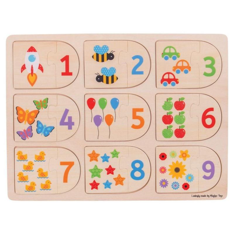 Puzzle Potriveste-ma la locul meu, 18 piese din lemn late, 1 - 6 ani 2021 shopu.ro