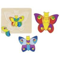 Puzzle stratificat Fluturele Goki, 11 piese, lemn, 2 ani+, Multicolor