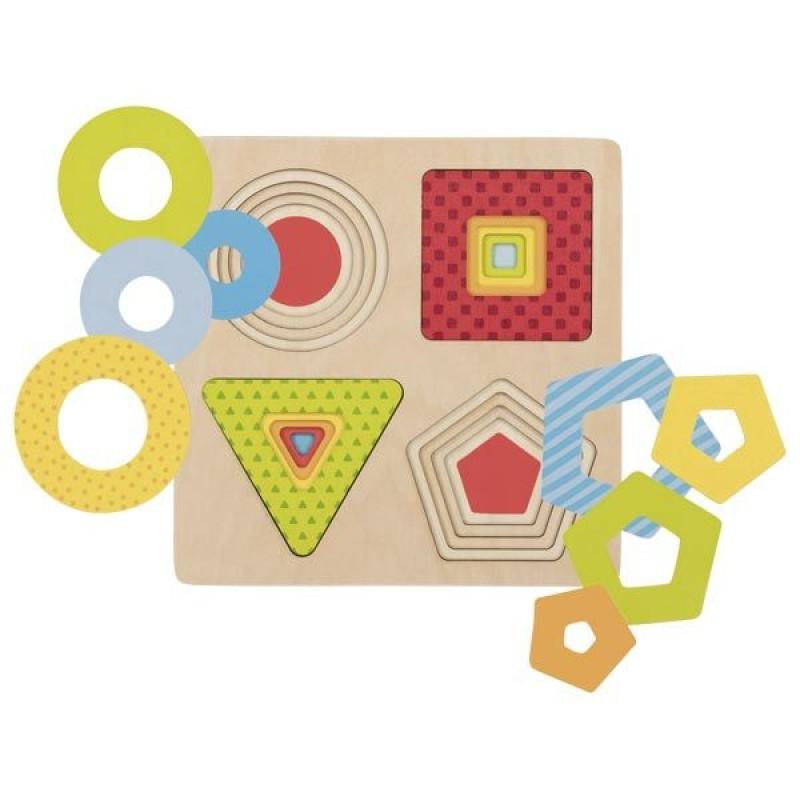 Puzzle stratificat Forme geometrice Goki, 16 piese, lemn, 2 ani+, Multicolor