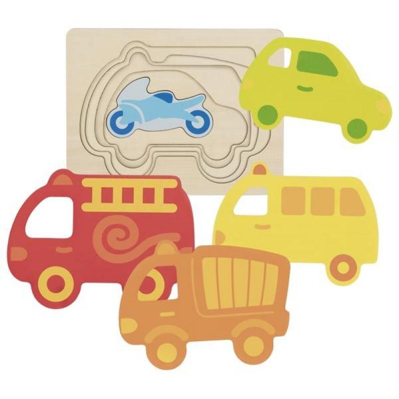 Puzzle stratificat Vehicule Goki, 5 piese, lemn, 2 ani+, Multicolor 2021 shopu.ro