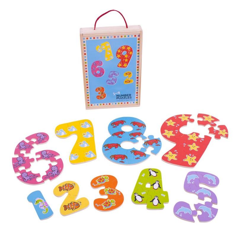 Puzzle-ul cifrelor 1 - 9, 45 piese, 3 ani+ 2021 shopu.ro