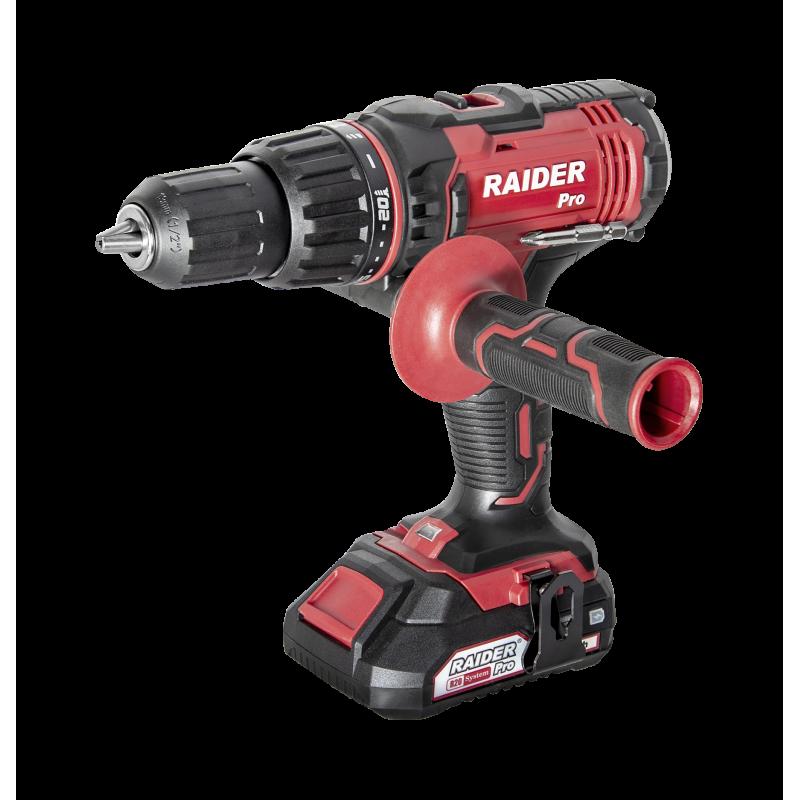 Masina de gaurit si insurubat cu percutie Raider, 1650 rpm, 26400 percutii/min, 2 viteze, LED, maner auxiliar, frana electrica shopu.ro