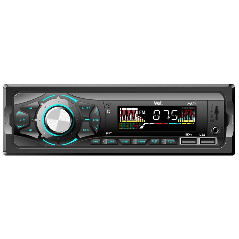 Radio auto Well Show, Bluetooth, 4 x 40 W, slot USB/SD, radio FM, afisaj LCD 2021 shopu.ro