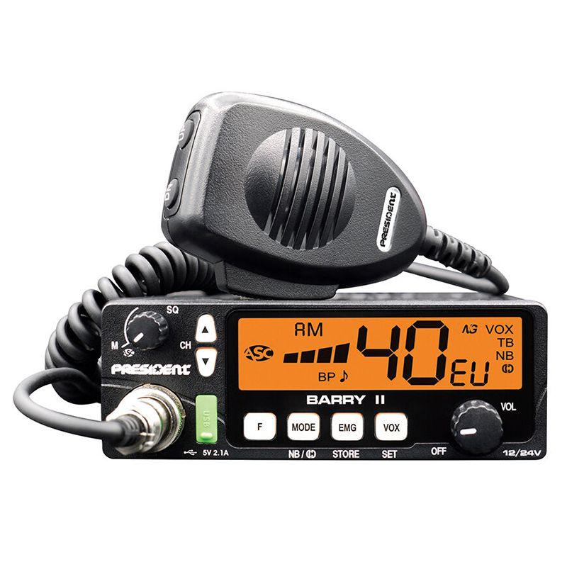 Statie radio CB Barry II President, 4 W, 12/24 V, VOX, 40 canale, USB, Negru 2021 shopu.ro