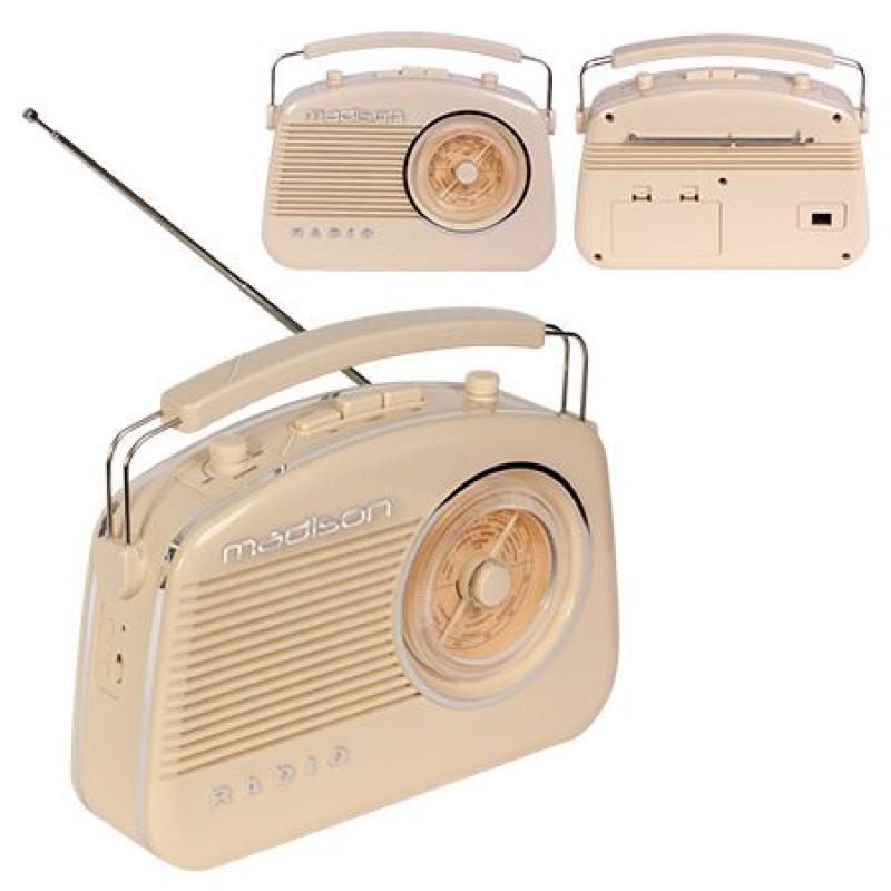 Radio FM portabil, 15 W, functie bluetooth, design vintage, Bej 2021 shopu.ro