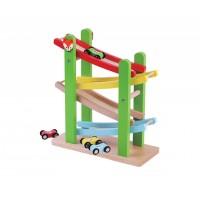Rampa pentru masinute de curse Jumini, 25 x 29 x 10 cm, lemn, 18 luni+, Multicolor