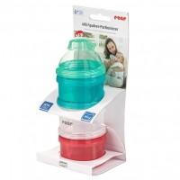Recipient pentru lapte praf Reer, 3 compartimente, fara BPA, capac cu palnie